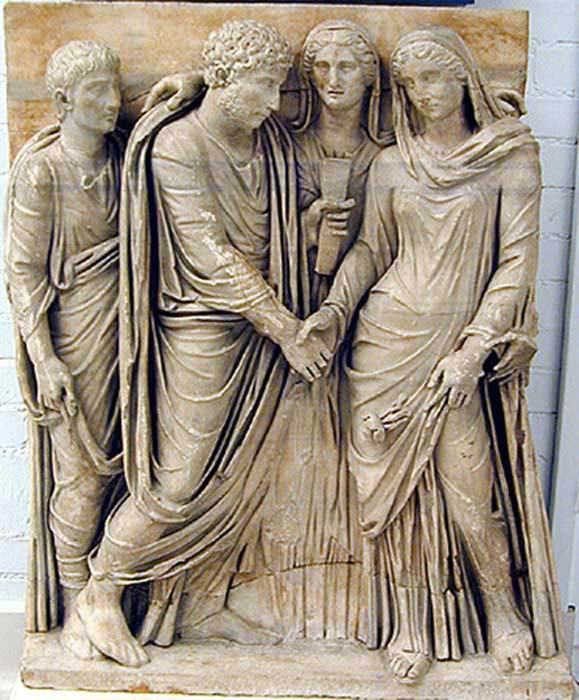Fragment from the front of a sarcophagus showing a Roman marriage ceremony. (CC BY SA 4.0) Inheritance was valued over love in marriage decisions.