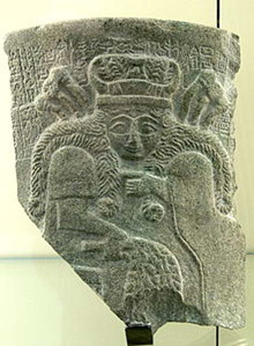 Fragment of a stone plaque from the temple of Inanna at Nippur showing a Sumerian goddess, possibly Inanna (c.2500 BC)