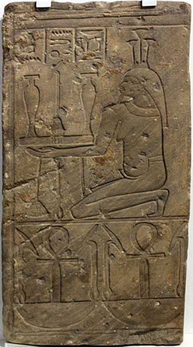 "Fragment of a temple relief with Nile god Hapi. The inscription on the frieze reads ""all luck, all life"" which is what was hoped for; Medinet (Egypt); 746-655 BC."
