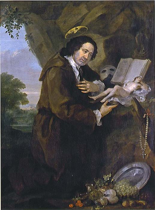 Francis Dashwood, 11th Baron le Despencer parodying Renaissance images of Francis of Assisi. The Bible has been replaced by a copy of the erotic novel. (William Hogarth /Public Domain)