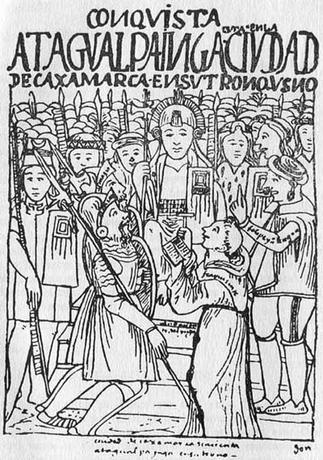 Francisco Pizarro meets with the Inca emperor Atahualpa, 1532. Illustration by Waman Puma de Ayala in the early 17th century. (Public Domain)