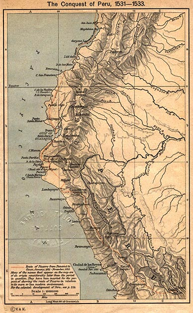 Francisco Pizarro's route of exploration during the conquest of Peru (1531–1533). (ALE! / Public Domain)