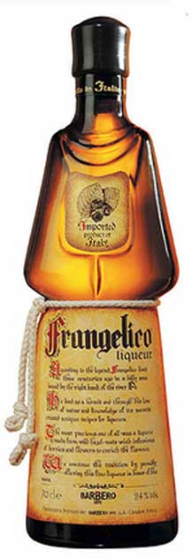 Frangelico liqueur bottle.