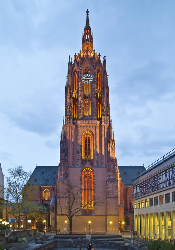 The west tower of the Frankfurt Imperial Cathedral, under which were interred two Medieval children, one with a Christian burial the other a pagan burial.
