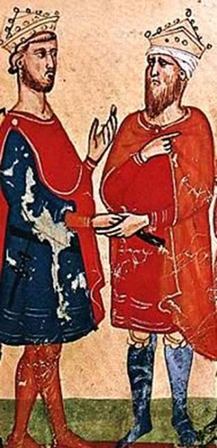 Frederick II, Holy Roman Emperor (left) meets al-Kamil Muhammad al-Malik (right), from a manuscript of the Nuova Cronica, between circa 1341 and circa 1348. (Public Domain)
