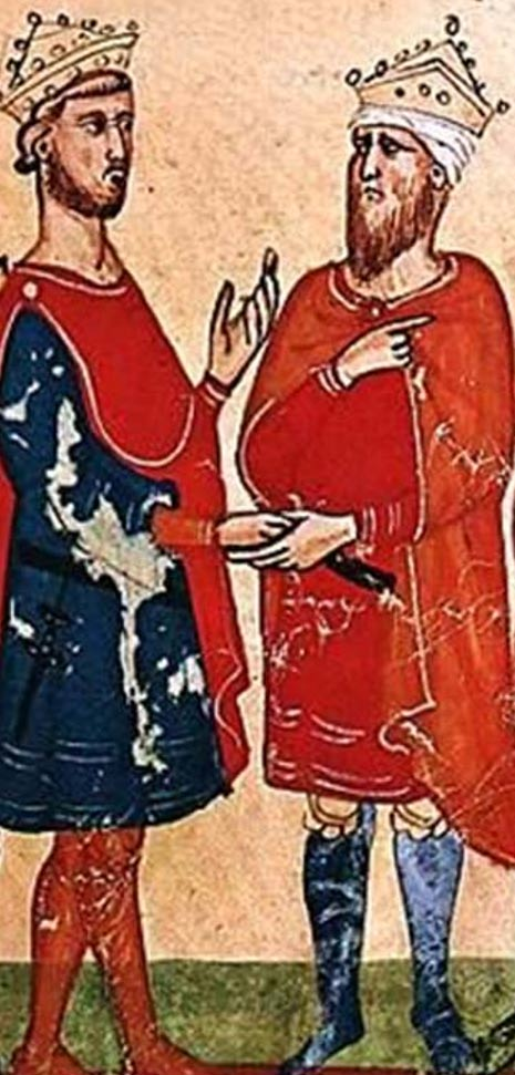 Frederick II, Holy Roman Emperor (left) meets al-Kamil Muhammad al-Malik (right), from a manuscript of the Nuova Cronica, between circa 1341 and circa 1348