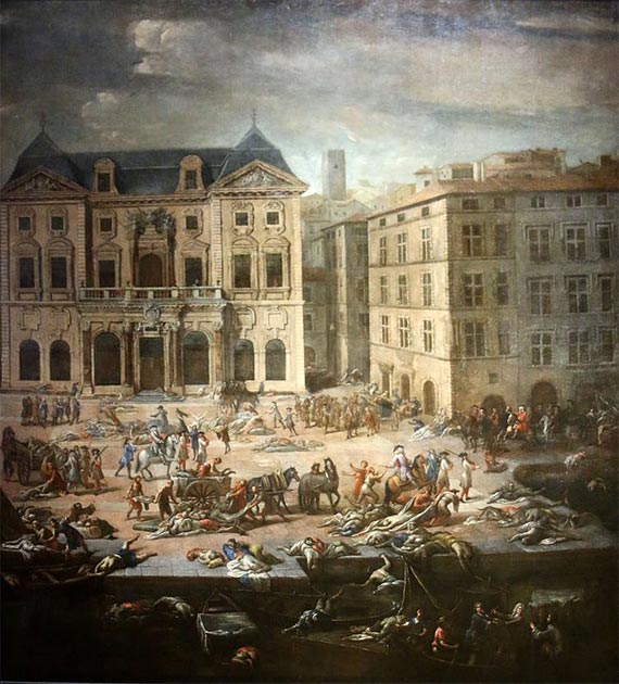 French artist Michel Serre's 1721 work shows a view of the town hall in Marseilles during the city's outbreak of plague the previous year. (Marseille Museum of Fine Arts)