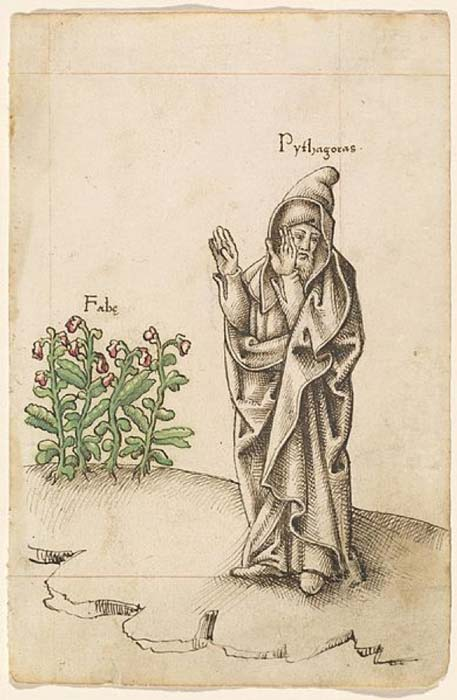 French manuscript from 1512/1514, showing Pythagoras turning his face away from fava beans in revulsion. (Public Domain)