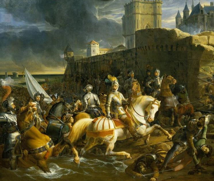 The French take Calais in 1558. Oil painting by François-Édouard Picot, 1838
