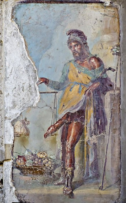 Fresco of Priapus with erect penis, Vettii houses (BlackMac / Fotolia)