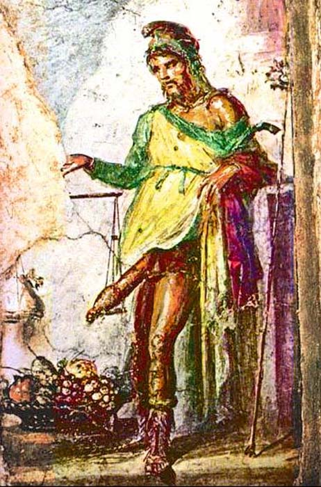 Fresco of Priapus, Casa dei Vettii, Pompeii. (Public Domain)