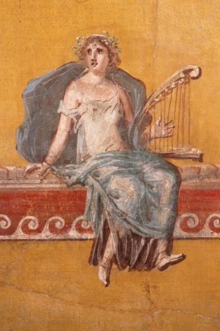 Fresco of a harp player from a Villa at the foot of Mount Vesuvius (First century) (Public Domain)