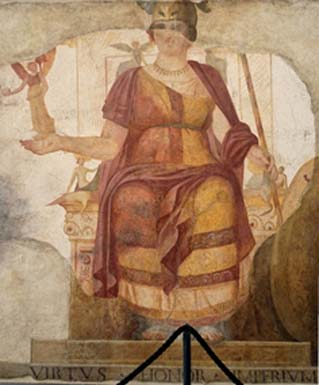"Fresco with a seated Venus, restored as a personification of Rome in the so-called ""Dea Barberini"" (""Barberini goddess""); Roman artwork, dated first half of the 4th century AD. (Public Domain)"