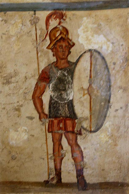 Fresco showing the superiority of an ancient Macedonian heavy infantry soldier wearing mail armor and bearing a thyreos shield. (DeFly94 / CC BY-SA 4.0)