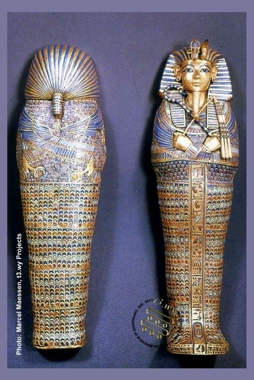 Front and back views of one of four elaborately decorated canopic coffinettes that held the royal viscera of Tutankhamun. Palimpsest inscriptions chased inside these objects reveal the name, Neferneferuaten. The Egyptian Museum, Cairo.