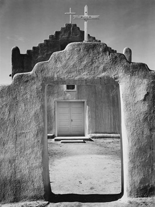 "Front view of entrance, ""Church, Taos Pueblo National Historic Landmark, New Mexico, 1942"""