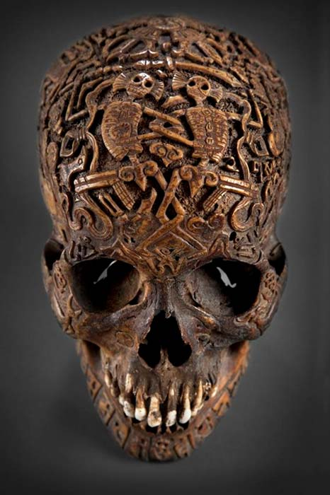 Front view of the mysterious carved skull.