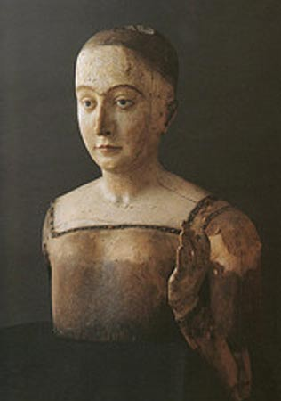 The funeral effigy (without clothes) of Elizabeth of York