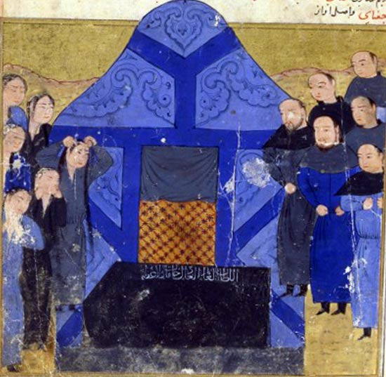 Funeral of Chagatai Khan, the ruler of the Chagatai Khanate.