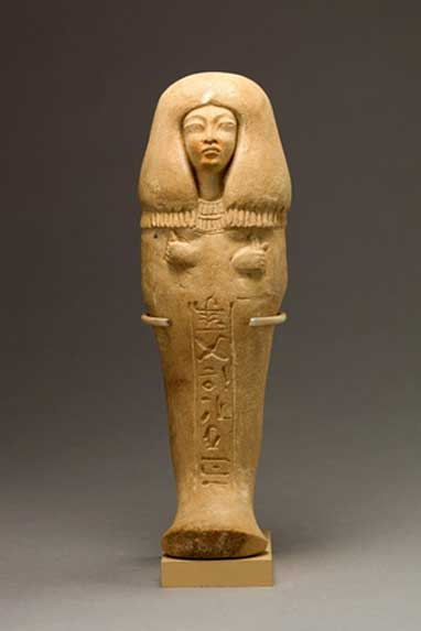 Funerary figurine of Isis, 'Singer of the Aten'. During Akhenaten's reign, the traditional gods were forsaken, and so, this shabti is not inscribed with Spell Six from the Book of the Dead and makes no mention of the funerary god Osiris, as was the norm. Instead, prayers to the king and the Aten were used.