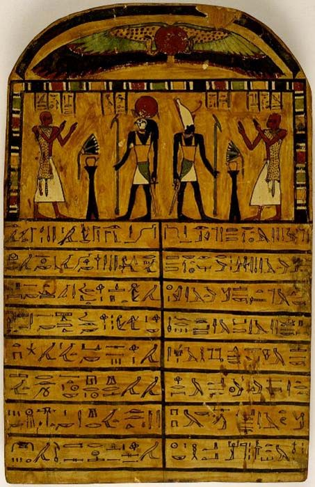 Funerary stele of the priest Hor, depicted presenting offerings to two manifestations of the sun god. Below each scene is an inscription comprising words of praise for the two represented deities.