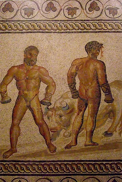 Gallo-Roman Mosaic Floor depicting a boxing scene between Entellus and Dares from Virgil's 'Aeneid'. (Mary Harrsch/CC BY 2.0)