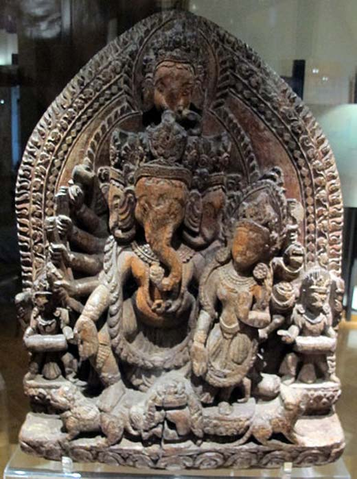 Ganesha.Heramba-Ganesha with consort, 18th century Nepal. 'Heramba Ganapati' was another popular mode of Ganesah in which the deity was depicted as a five-headed iconographical form. Particularly popular in Nepal this form is important in Tantric worship of Ganesha. (CC BY-SA 3.0)