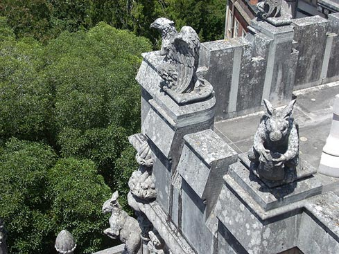 Gargoyles perch on the rooftop of the Quinta de Regaleira