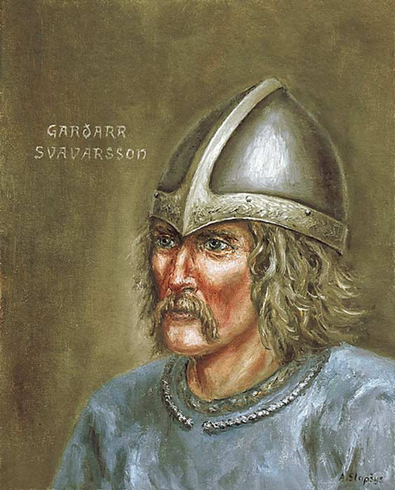 Modern-day portrait of Garðar Svavarsson, or Gardar the Swede.