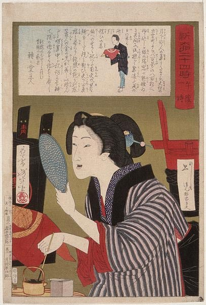 Geisha blackening the teeth to 1 am, ukiyo-e of Tsukioka Yoshitoshi, number 13 of the series 24 hours Shinbashi and Yanagibashi.