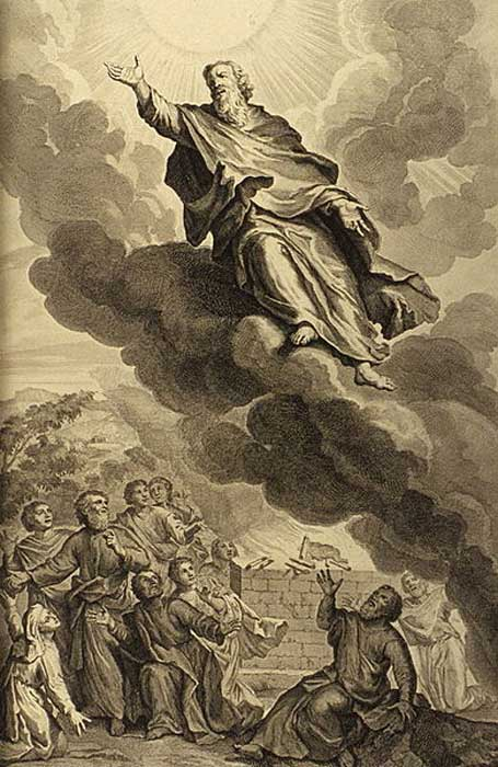 "Genesis 5:24: ""And Enoch walked with God: and he was not; for God took him."" (KJV) illustration from the 1728 'Figures de la Bible'; illustrated by Gerard Hoet (1648–1733) and others, and published by P. de Hondt in The Hague; image courtesy Bizzell Bible Collection, University of Oklahoma Libraries."