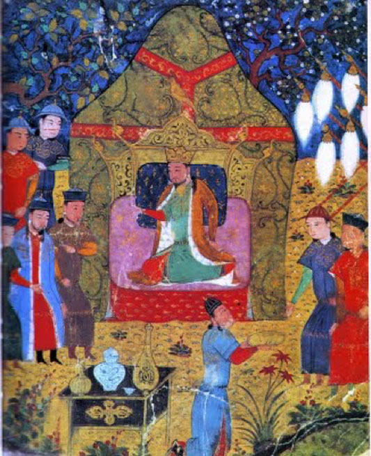 Genghis Khan proclaimed Khagan of all Mongols. Illustration from a 15th-century Jami' al-tawarikh manuscript. (Public Domain)