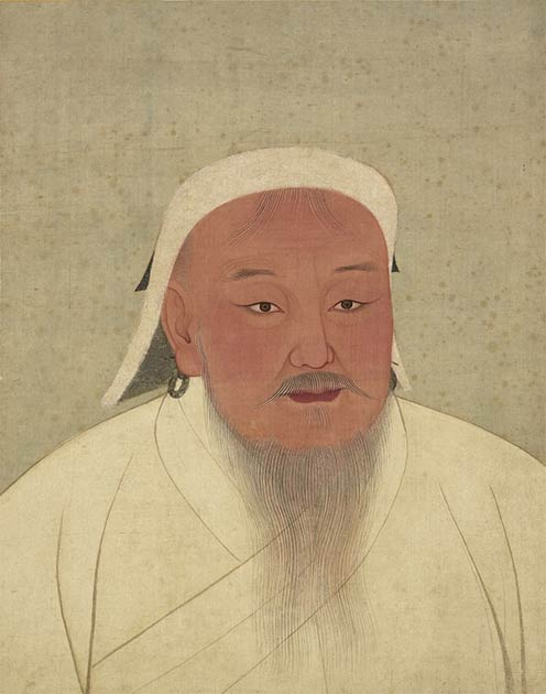 Genghis Khan portrait cropped out of a page from an album, now located in the National Palace Museum in Taipei, depicting several Yuan emperors. (Public domain)