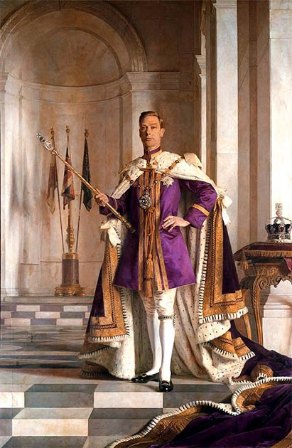 George VI, King of England, chose the ancient purple power color for his official portrait. (Public domain)