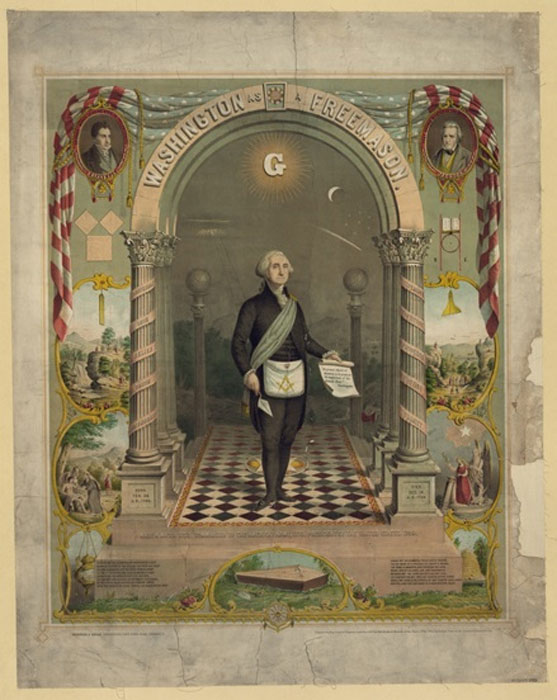George Washington, full-length portrait standing, facing slightly right, in masonic attire, holding scroll and trowel. Strobridge & Gerlach lithographers, Pike's Opera House, Cincinnati, (1866)(Public Domain).