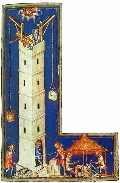 German Late Medieval (c. 1370s) depiction of the construction of the tower. (Public Domain)