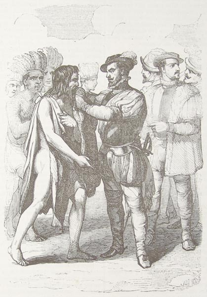 Geronimo de Aguilar is presented to Cortes after 11 years of being kept captive by the locals.