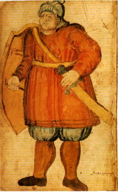 Gettir is ready to fight in this illustration from a 17th-century Icelandic manuscript.
