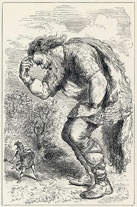"""[The] Giant Skrymir and Thor, by Louis Huard. (Public Domain)"
