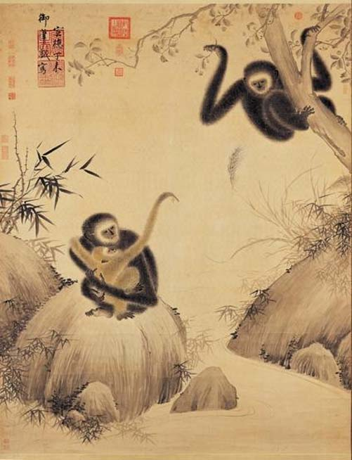 Gibbons at play, Xuande era (1427) (Public Domain)