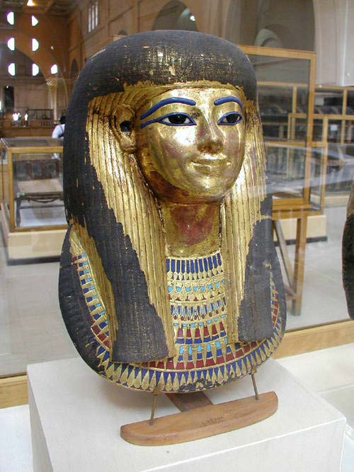 Gilded cartonnage mummy mask of Tuya, wife of Yuya and mother of Queen Tiye. (Public Domain)