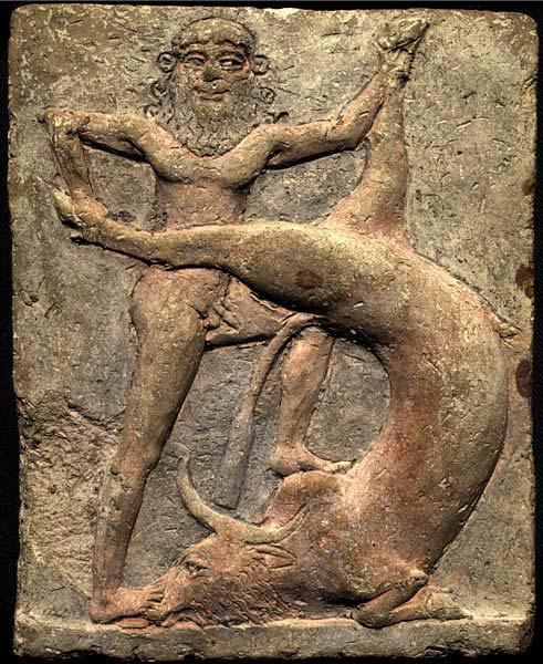 Gilgamesh, the king-hero from the city of Uruk, battling the 'bull of heavens'