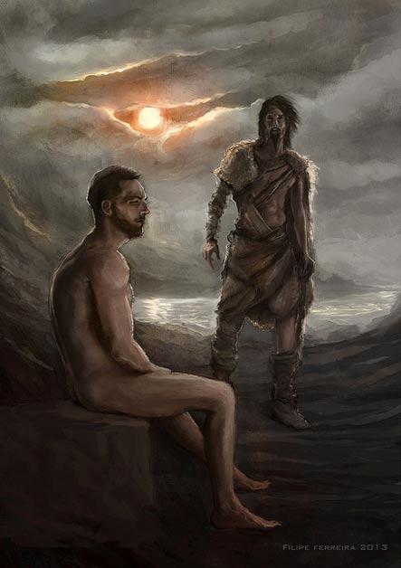 Artists rendition of Gilgamesh and Ut-napishtim.