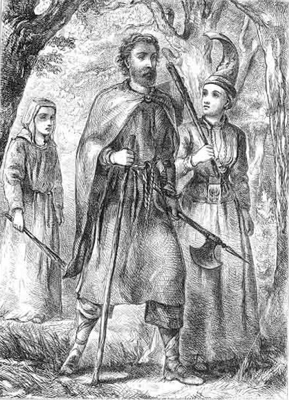 Gisli with his wife Aud and their foster-daughter Gudrid. 1866.