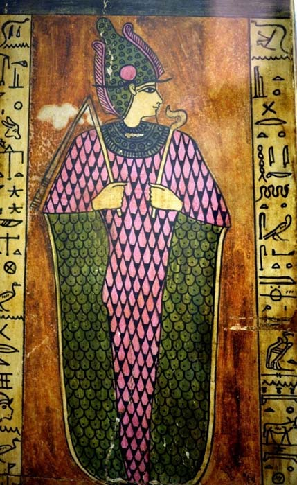 Given the choice of colors, this is a rather unusual depiction of Osiris on a sarcophagus lid. Egypt, Second Century AD. Allard Pierson Museum.
