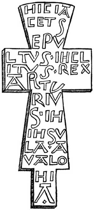 """Leaden cross found in Arthur's grave, Glastonbury."" Some suggest that this cross shows that Glastonbury is the Avalon of Arthurian legends."