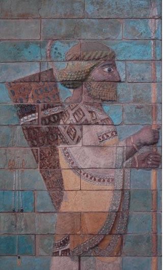 Glazed siliceous bricks at Susa, c. 510 BC depicting an Achaemenid soldier
