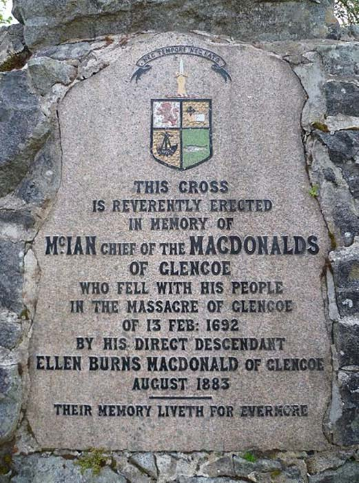 Glencoe Massacre memorial inscription