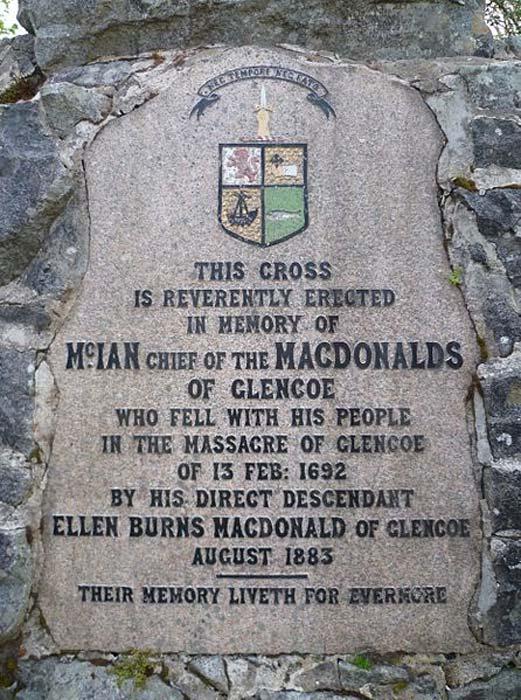 Glencoe Massacre memorial inscription