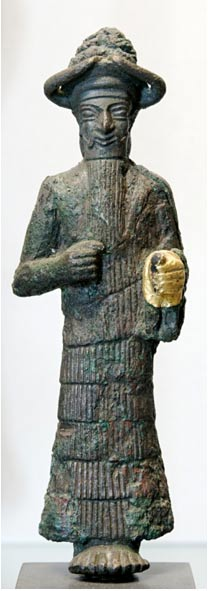 God with golden hand, possibly Inshushinak, copper and gold, Susa, Iran